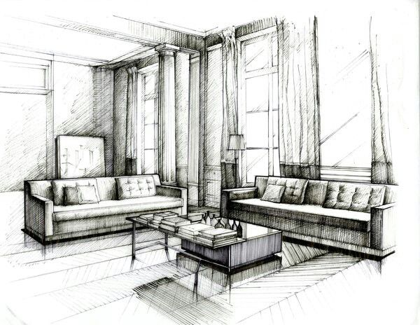 Living Room Interior Design Drawings Interior Design Sketches Interior Design Renderings