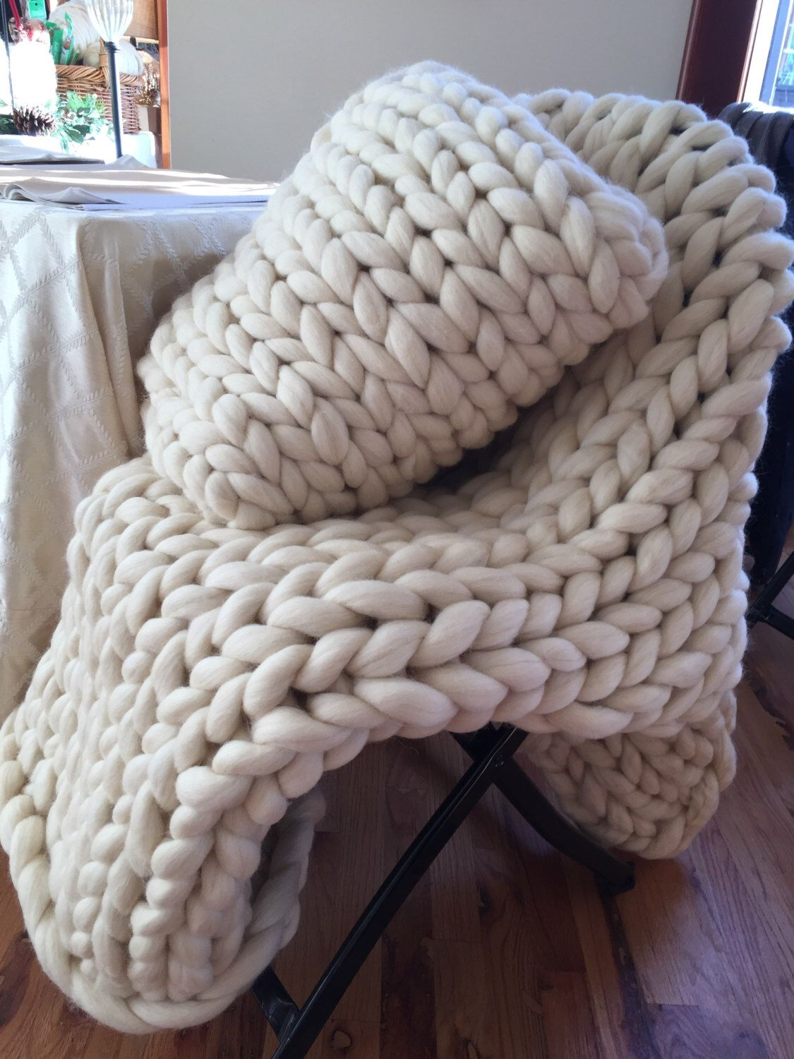 Extra Large Chunky Knit Throw Heavy Warm Knitted Ivory