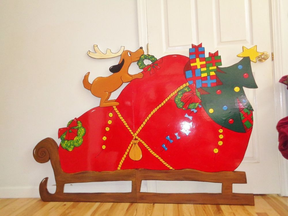 Hand Made Grinch Sleigh That Stole Christmas Decor Yard Art
