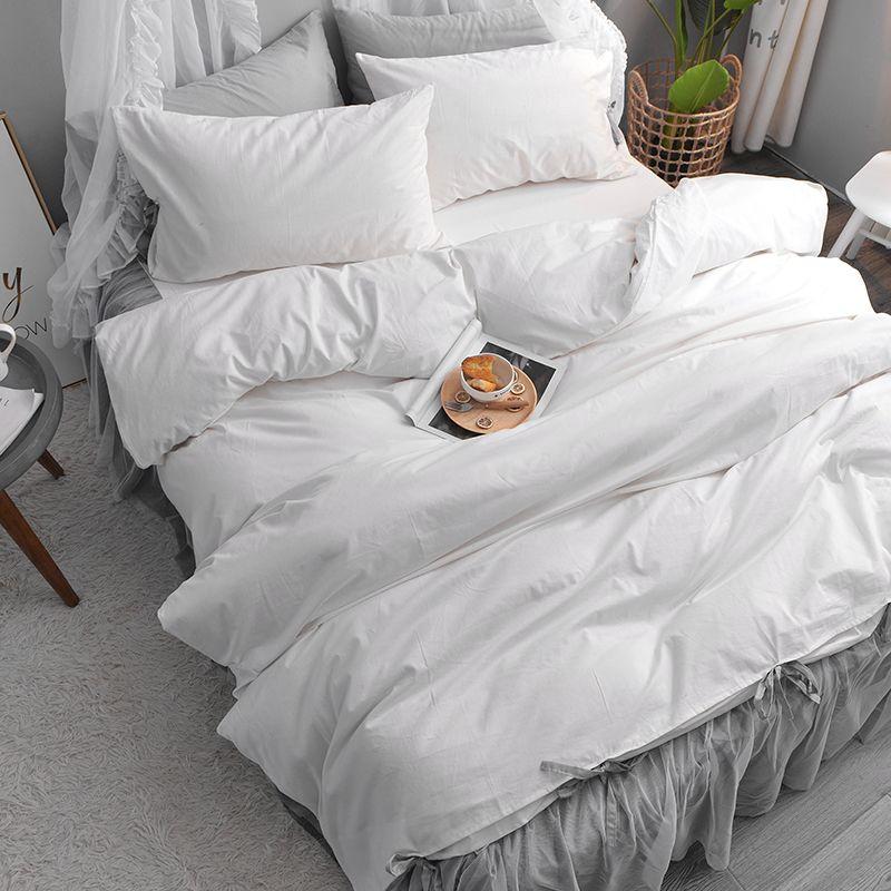 White Cotton Bedspread King Size Bed Skirt Set Ruffle Bed Skirt 3 4pcs Bedding Set Lace Bed Skirt Duvet Cover Tw Bed Spreads Lace Bed Skirt King Size Bed Skirt