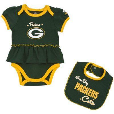 751349aa Green Bay Packers Infant Girls Skirted Onesie & Bib Set | Sports ...