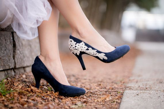 Navy Blue Bridal Shoe, Wedding Shoe, Low Heel Wedding, Blue Pump ...