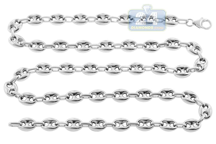 614a0476f386a Sterling Silver Anchor Puff Link Mens Chain 8 mm | Chains for Men ...