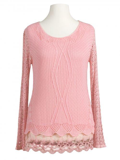 Damen Tunika Shirt mit Spitze, rosa von Moda Italia bei www.meinkleidchen.de