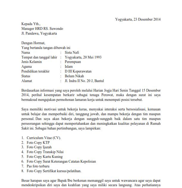 Contoh Surat Lamaran Kerja Rumah Sakit Contoh Surat Lamaran