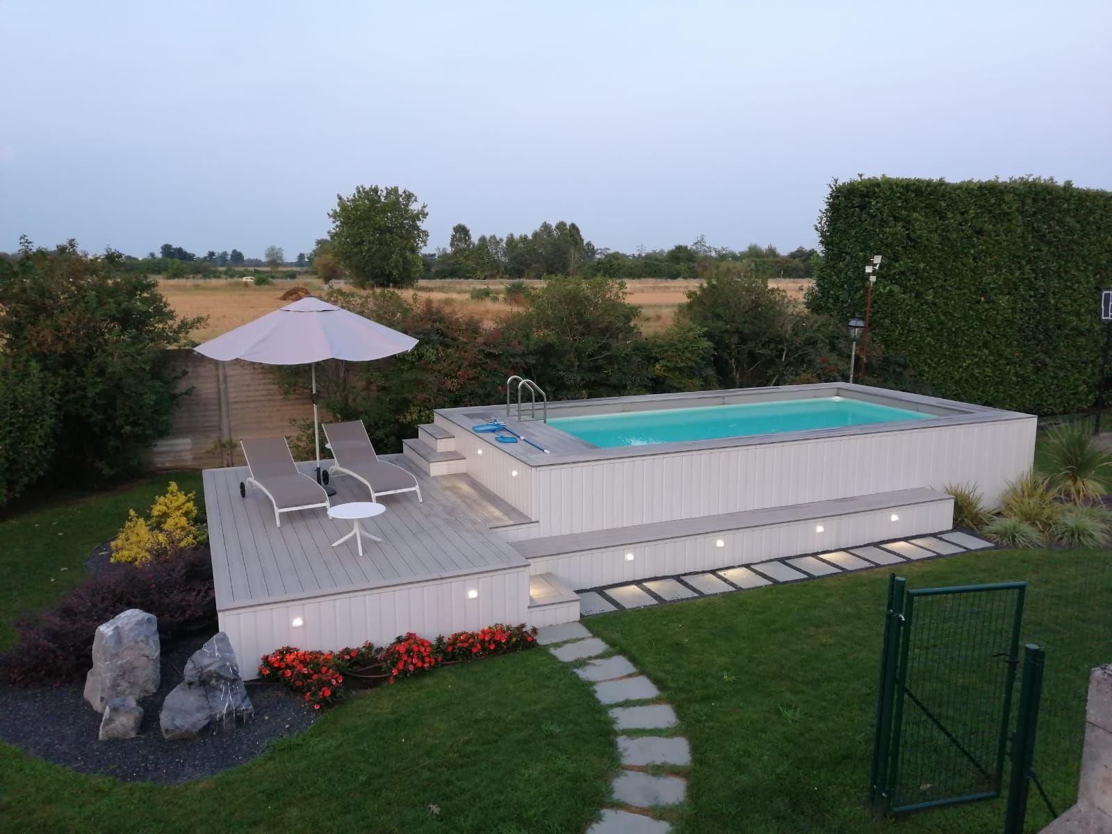 Piscina Da Esterno Fuori Terra piscina tutta personalizzata con solarium , rivestita in wpc