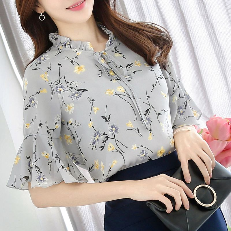 f65ddb9577c7c Summer Plus Size S-3XL Women Office Chiffon Bow Neck Print Flower Blouses  Shirts Female