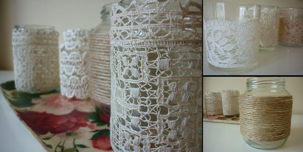Velas con encaje para cena rom ntica ideas rom nticas pinterest crafts diy y vintage - Cena romantica con velas ...