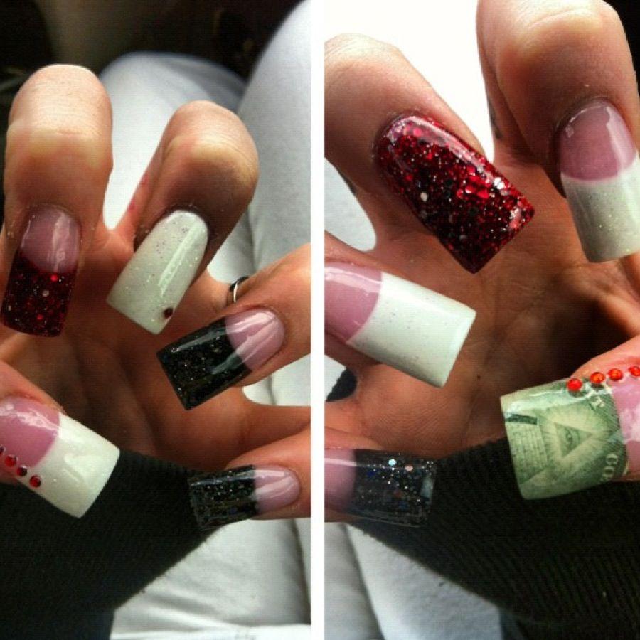 Money nails French acrylic nail art | nails | Pinterest | Nail ...