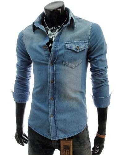 385be22733 TheLees (JDS08) Mens Casual Slim Fit Denim Style Washing Cotton Shirts