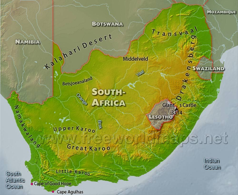 Geography South Africa is slightly less the