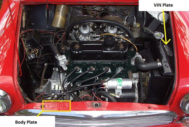 Morris Mini Cooper S (MK1 1071) Engine bay number stamp