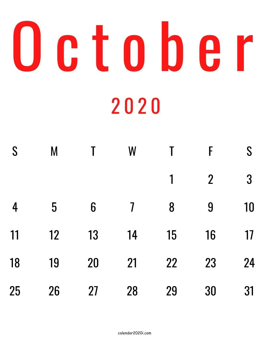 Blank October Calendar Printable In Red And Black