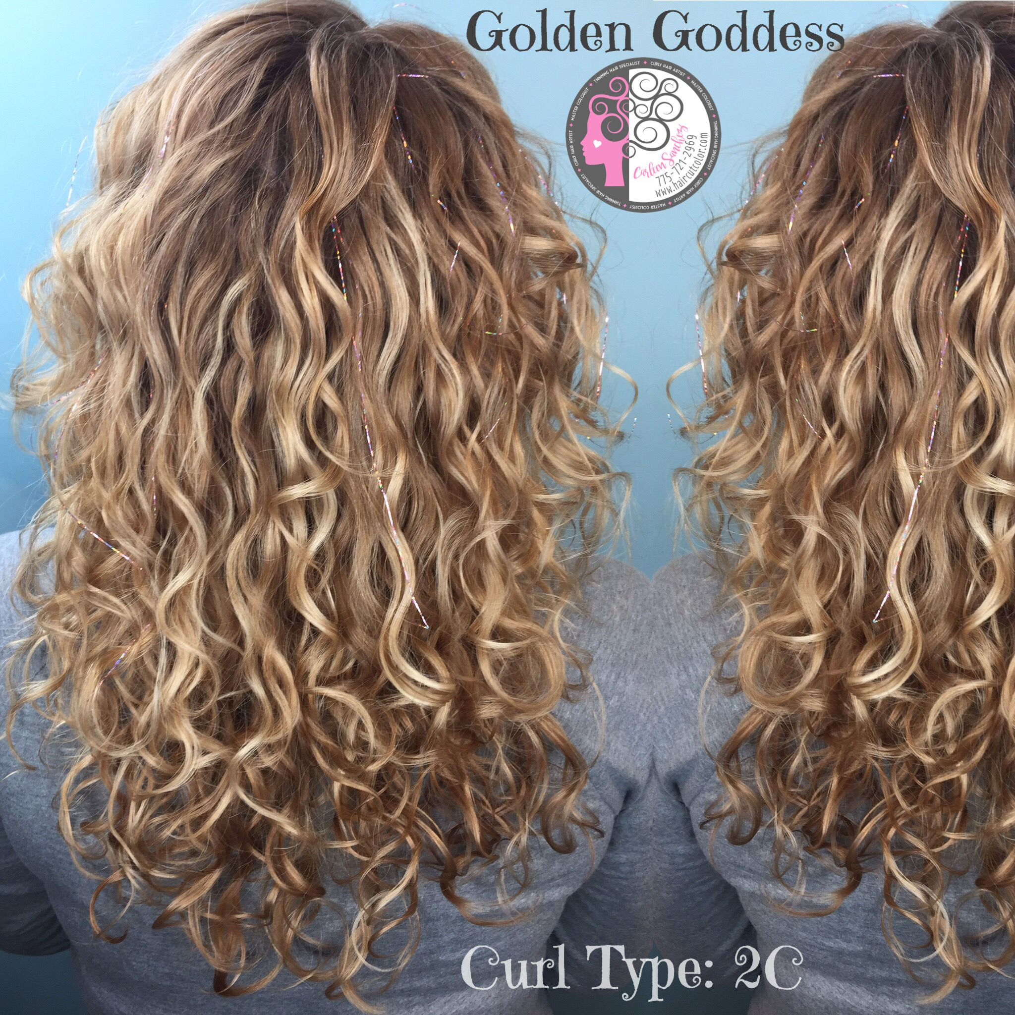 Naturally Curly Balayage Highlights Blond Hair By Carleen