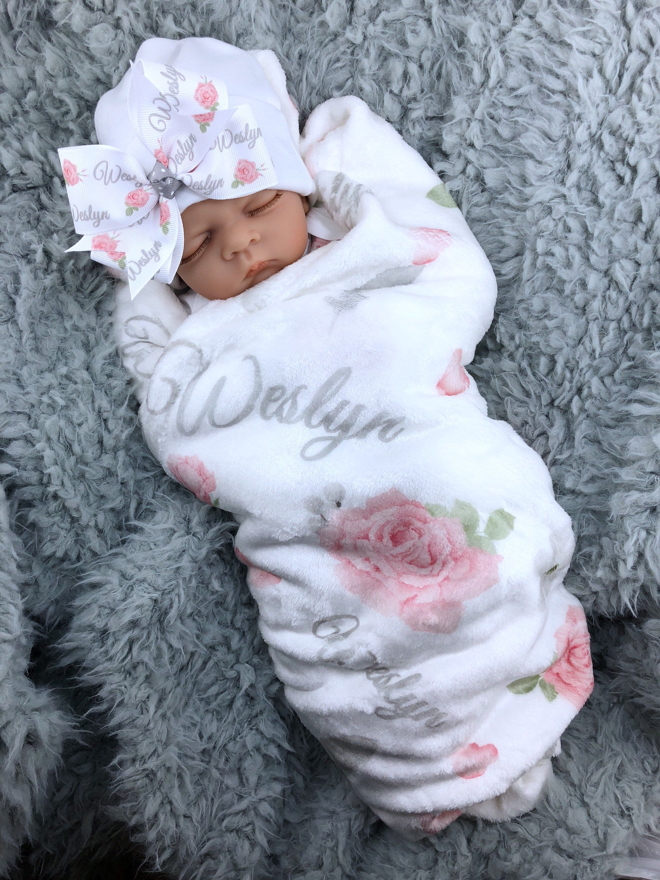Photo of Personalized Floral Baby Blanket Baby Girl Coming Home Outfit Pink Gray Baby Gown Hospital Outfit Watercolor Floral Baby Outfit Baby Shower