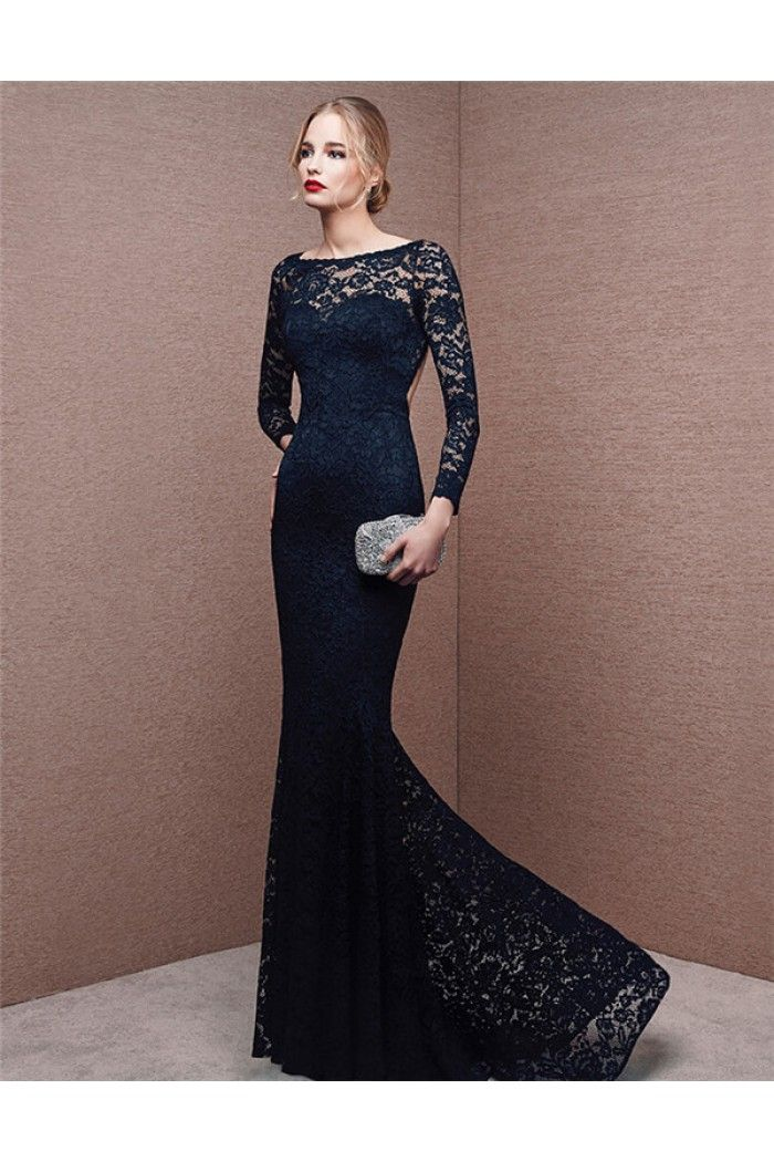 Mermaid Bateau Neck Backless Long Sleeve Navy Blue Lace Formal