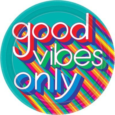 Refuel after boogieing down with food served on these Good Vibes 70s Dinner Plates! The large round paper plates feature the headline Good Vibes Only with colorful shading on a teal blue background. Use these paper plates to keep the good vibes at your 70s party or disco party! Good Vibes 70s Dinner Plates product details:  8 per package 10 1-2in diameter