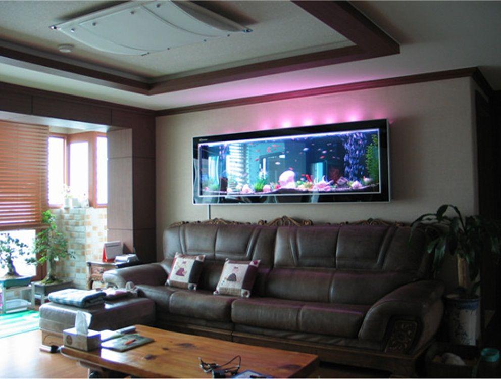 Desain Aquarium Dinding Ruang Tamu Gambar Home Design
