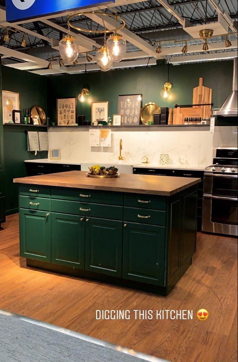 Green Ikea Kitchen Dark Green Kitchen Butcher Block Countertops Kitchen Green Countertops