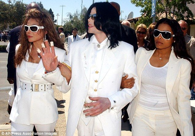 Disputed will: Some of the singer's siblings, including Janet Jackson, right with her brot...
