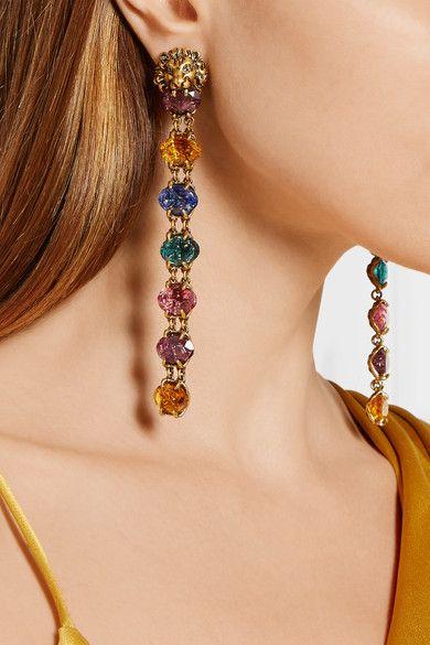 Gucci Gold Tone Swarovski Crystal Clip Earrings Net A Porter Com