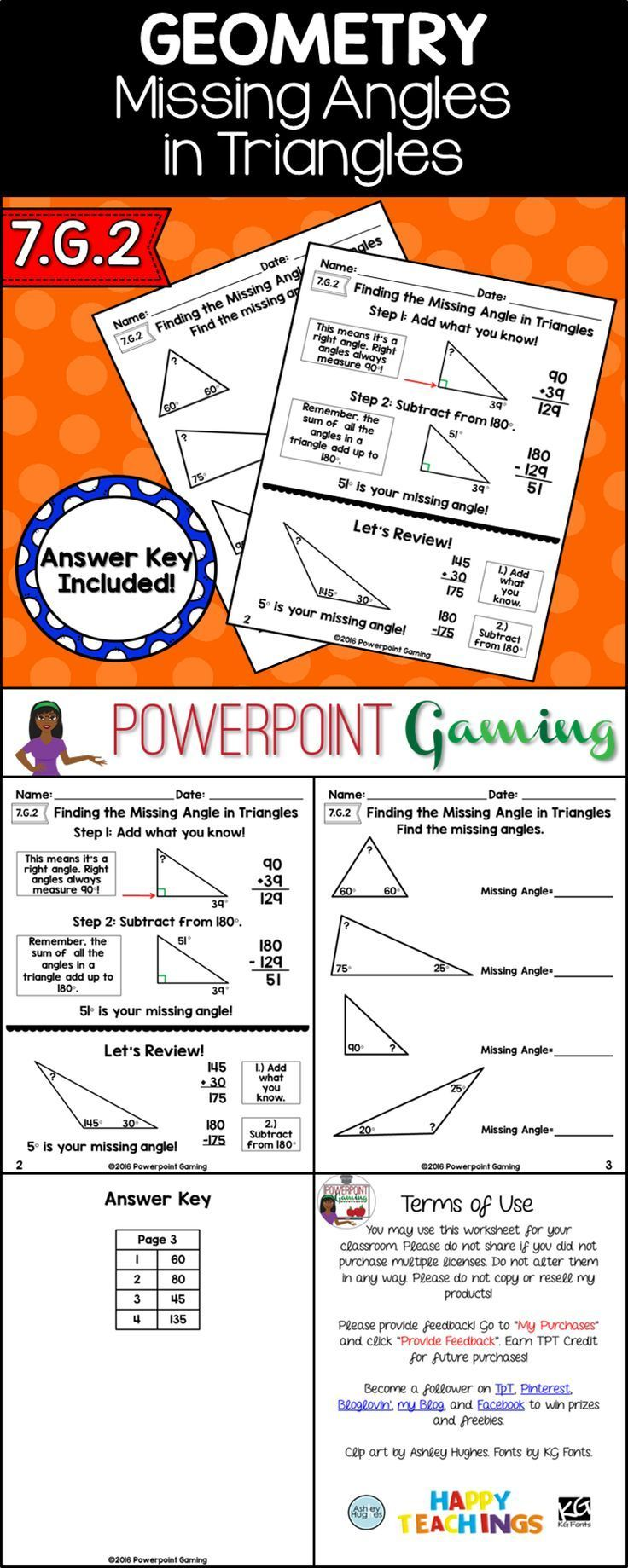 Finding The Missing Angle Of A Triangle Struggling Students Math Center Activities Math Resources