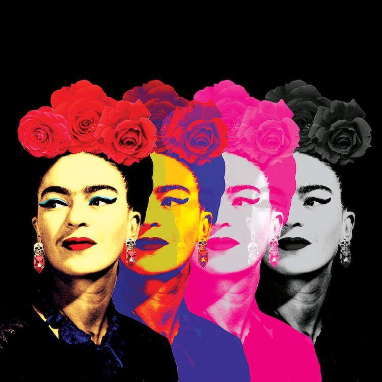 Fridas On Black - Canvas Print
