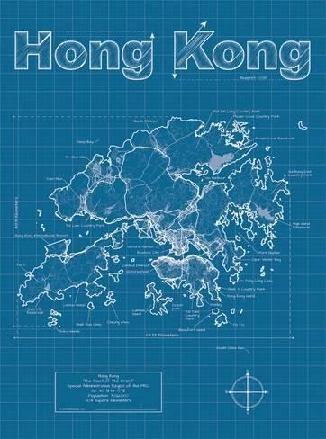 Art Print Hong Kong Artistic Blueprint Map By Christopher Estes 24x18in Hong Kong Map Map Art Print Hong Kong