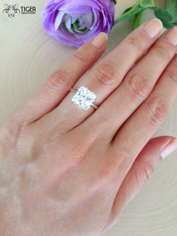 4 carat Princess Square Engagement Ring, Man Made Diamond, Promise ...
