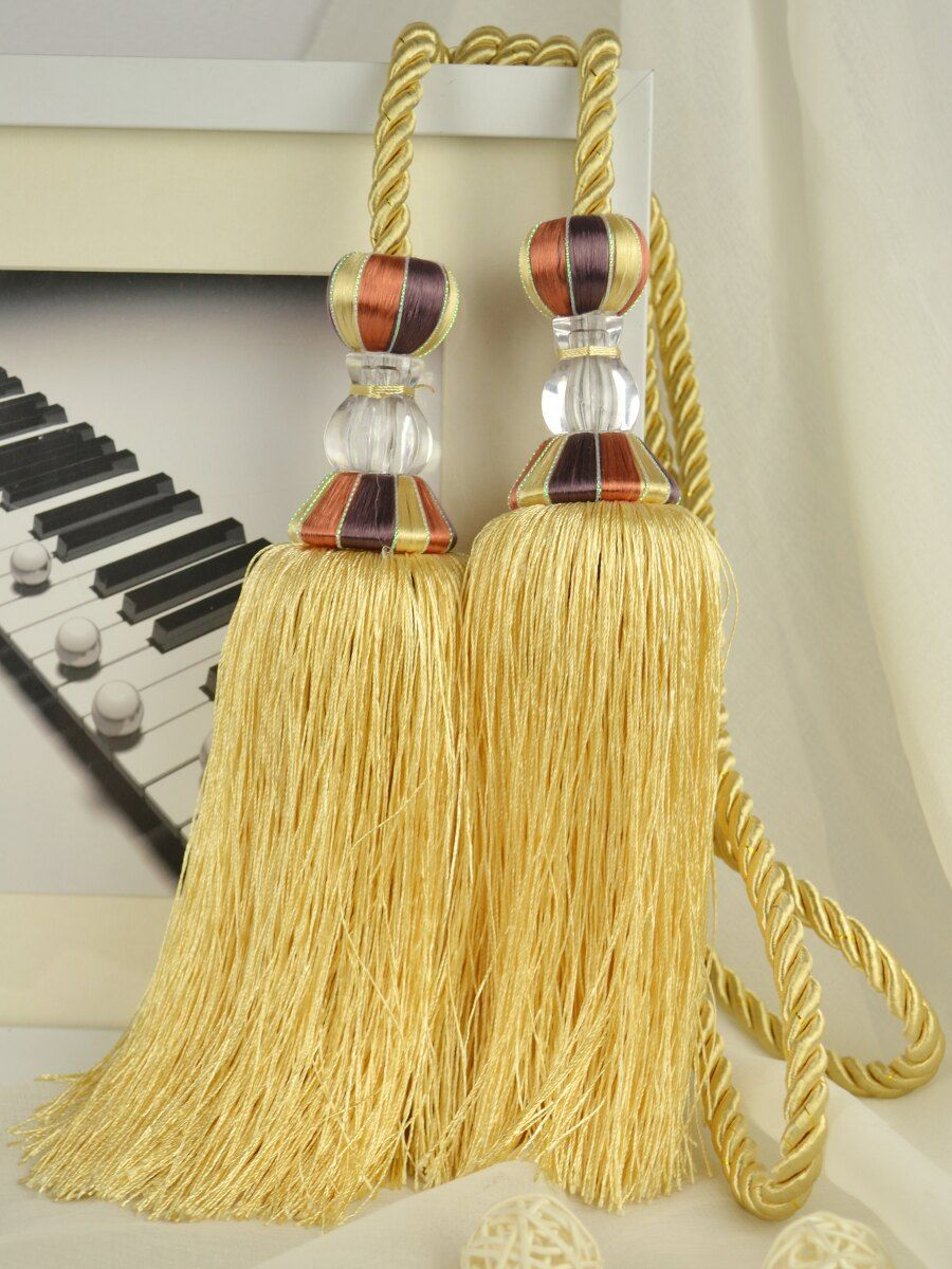 7 Colors QYM52 Polyester and Acrylic Curtain Tassel Tie Backs in Yellow Color