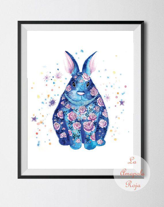 Spring rabbit, blue rabbit decor, Easter bunny, flower rabbit, blue bunny, art print unframed, animal art, pets art, spring bunny decor