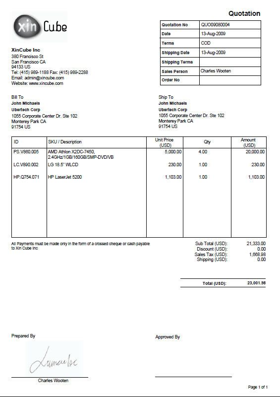 Invoice Format · Quotation Template  Quote Invoice Template