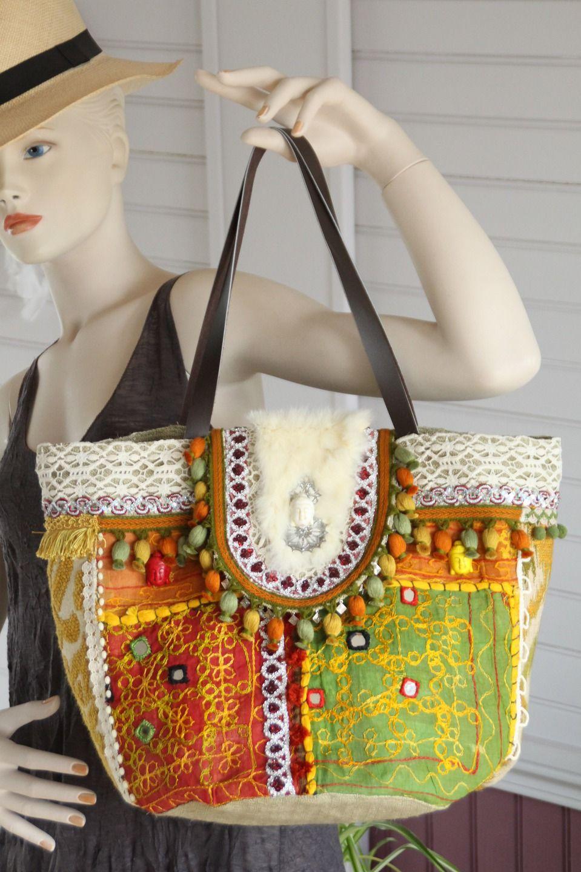Sac style bohème hippie chic en toile de jute tissée chevron, tissu ...