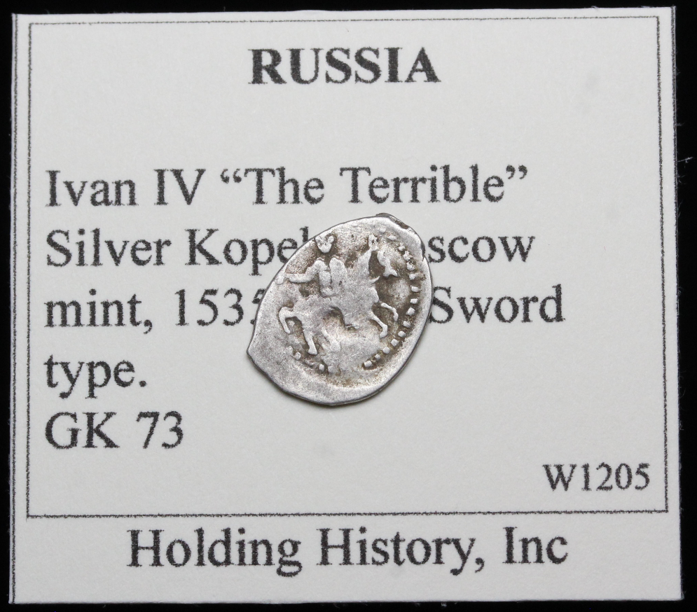 """RUSSIA. Ivan IV """"The Terrible"""", Hammered Silver Kopek, Wire Money, G ..."""