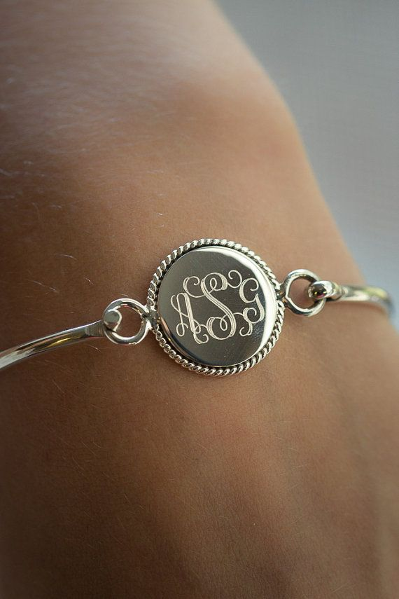 Nautical Rope Monogram Bracelet In Sterling Silver Stacking Bangle Personalized For Women Bridesmaids S