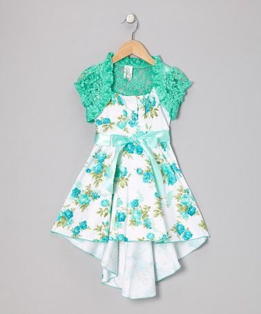 Take a look at this Mint Bow Dress Set by Just Kids on #zulily today!