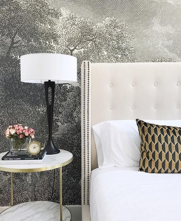 A bedroom accent wall is clad in anthropologie etched for Anthropologie etched arcadia mural