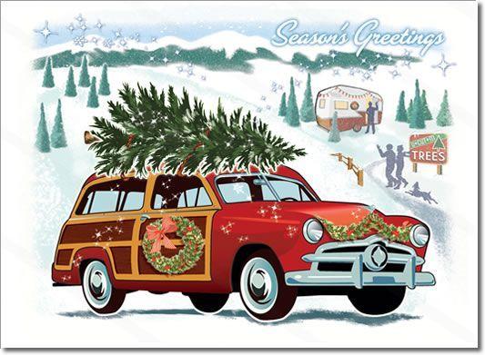 Car Visiting A Snowy Christmas Tree Farm A Nostalgic All American ...
