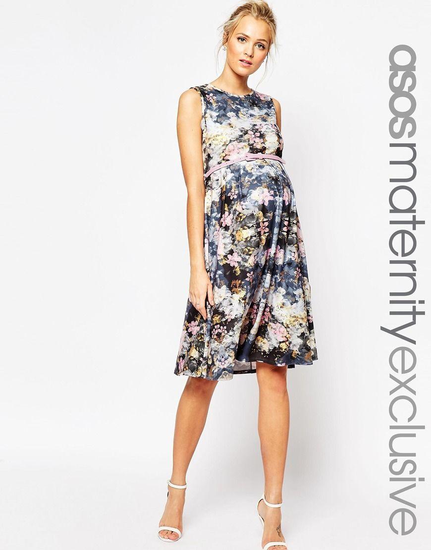 Image 1 of asos maternity midi skater dress in floral print with image 1 of asos maternity midi skater dress in floral print with belt ombrellifo Choice Image