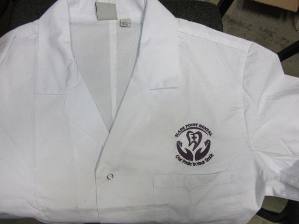 Lab coats with logo embroidery