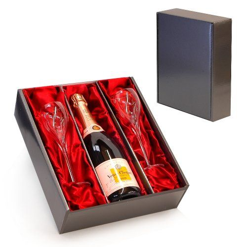 Luxury Wedding Anniversary Gifts: Veuve Clicquot Rose Champagne With 2 Branded Flutes In A