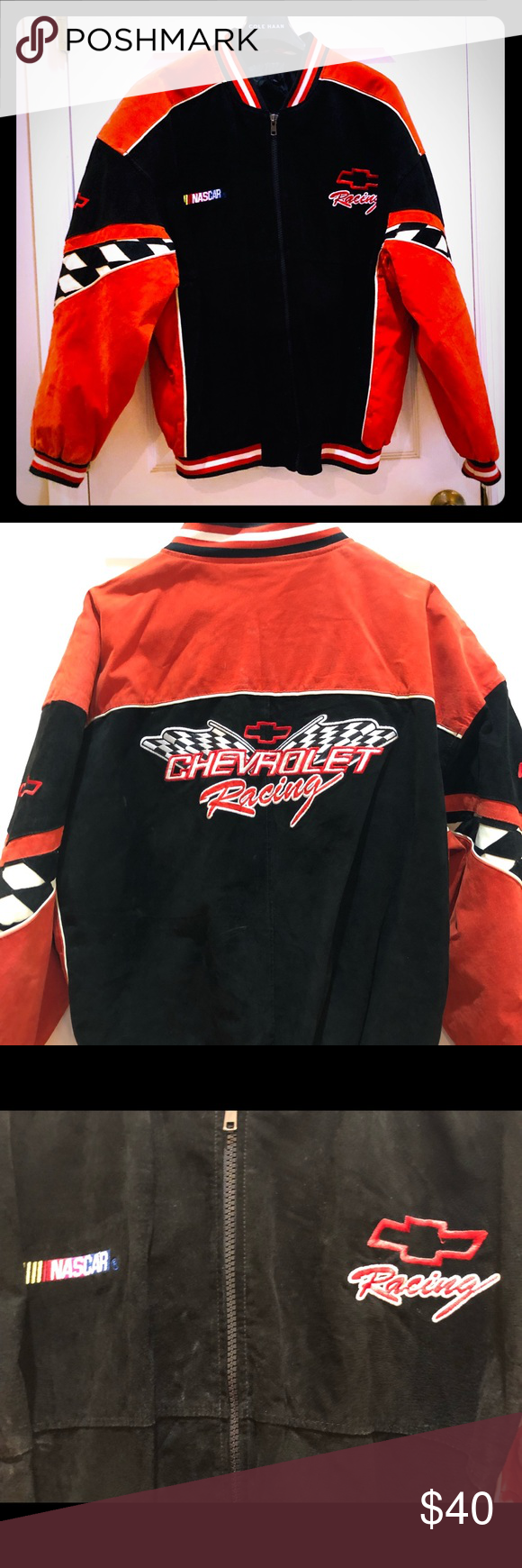 NASCAR Chevy Racing Leather Bomber Large Vibrant colors on this vintage NASCAR r...-#bomber