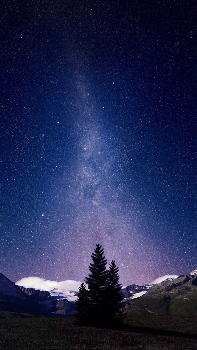 Awesome Milky Way And Mountains Tree Ios 11 Iphone X