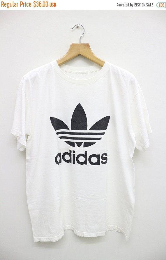 fe8fd0dfe32e SALE 25% OFF Vintage ADIDAS Trefoil Big by VintageClothingMall Vintage  Adidas, White Tees,