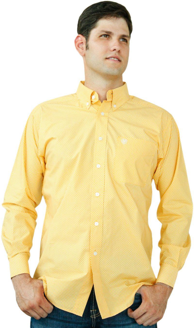 0f95de9a72 Camisa masculina Manga Longa Ariat Amarelo Ouro Estampas Brancas. Camisa  importada em 100% algodão