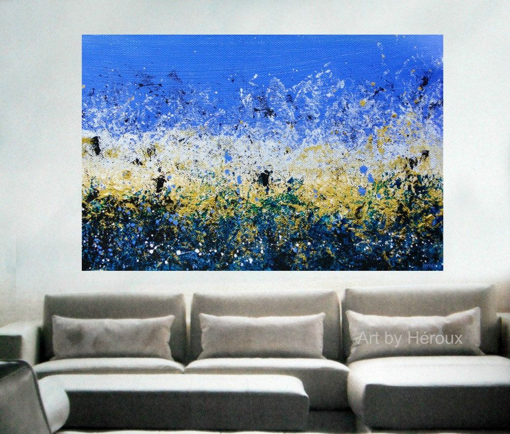 Large blue painting large abstract wall art blue abstract