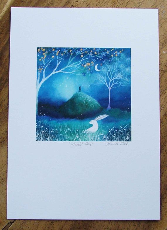Special edition art print with gold leaf. Moonlit Hare . Amanda Clark. on Etsy, $28.40 CAD