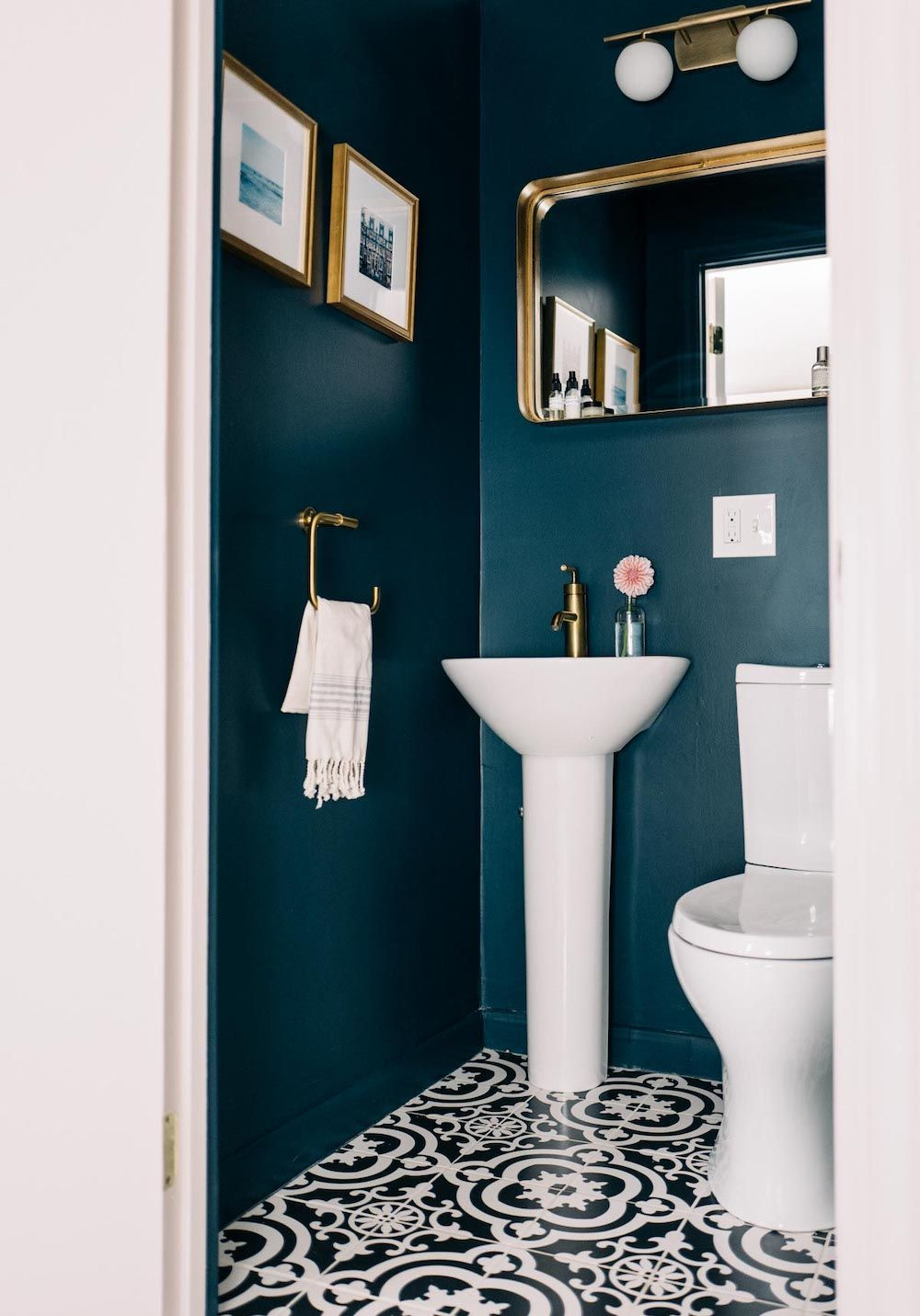 Hague Blue Powder Room With Gold Fittings Jess Ann Kirby Bathroom Inspiration Decor Blue Powder Rooms Powder Room Paint