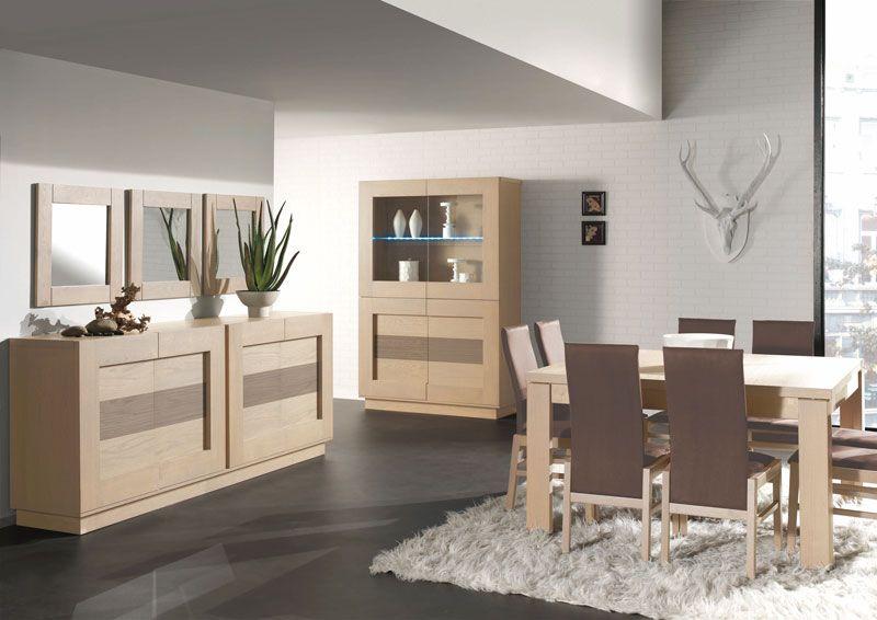 Salle à manger complète contemporaine THELIO coloris chêne gris +