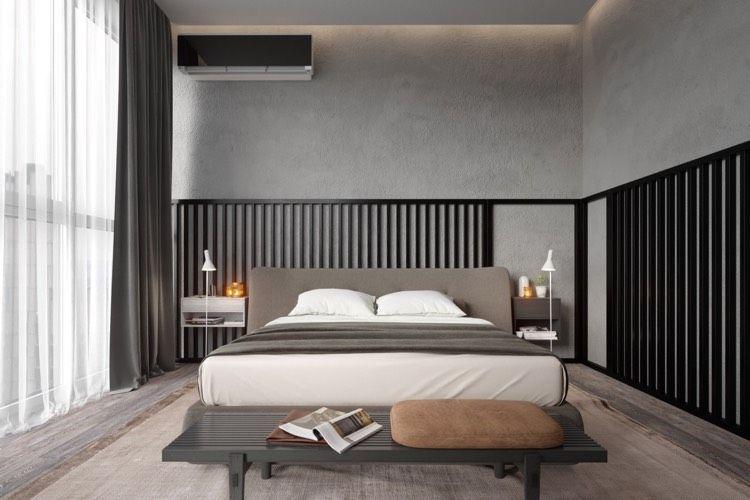 Wandputz in Betonoptik und schwarze Holzlatten als Wanddeko - wanddeko für schlafzimmer